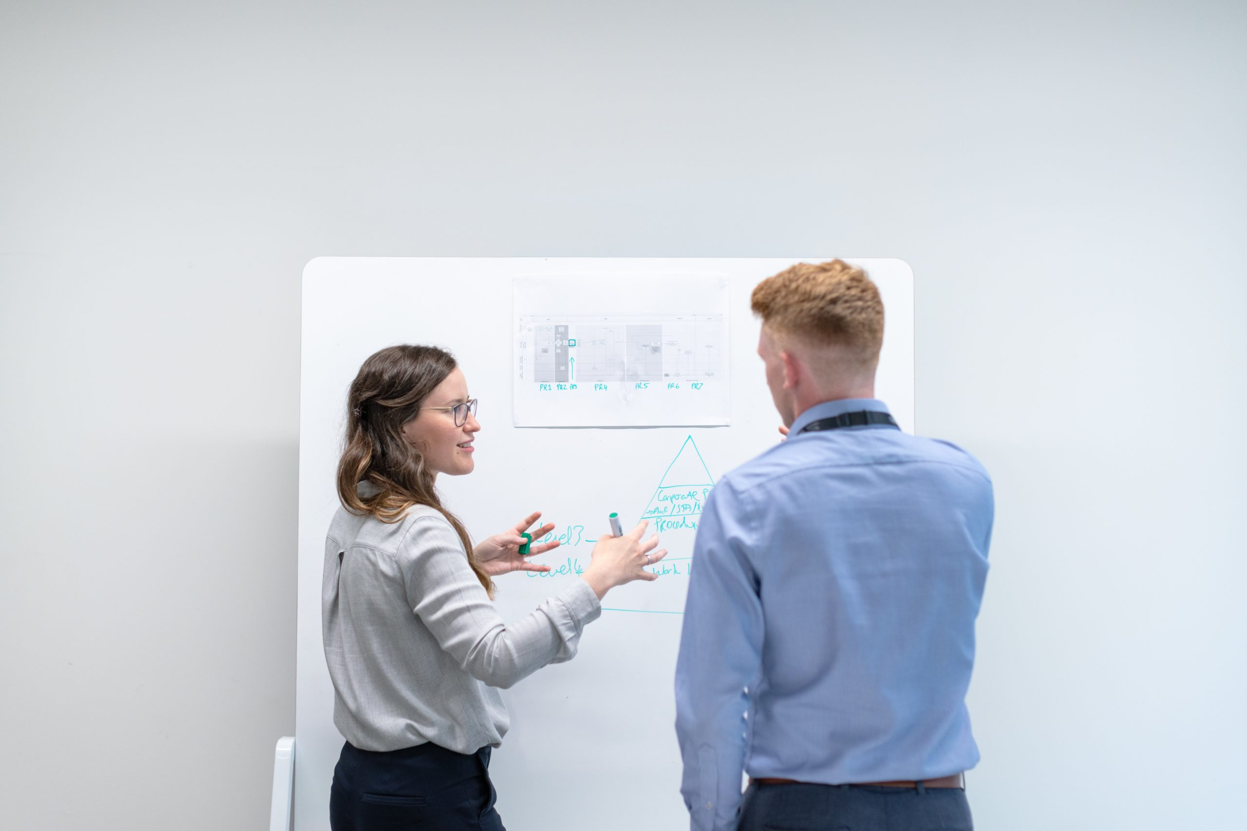 discussion between two people in front of a whiteboard